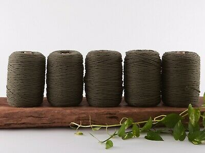 khaki olive 4mm macrame rope 5kg coloured string 3 strand ply cotton cord bulk