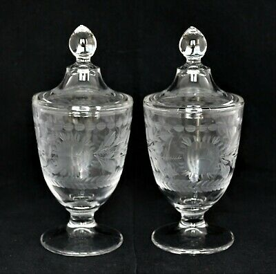 Antique Pair Engraved Glass Roses Flowers Jars With Lids