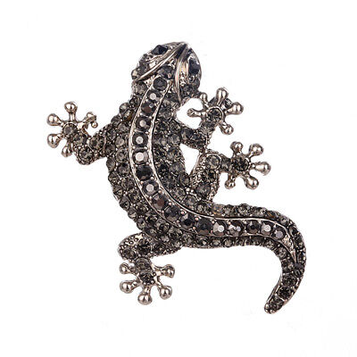Gecko House Lizard Shape Crystal Brooches Pins for Women Scarf Clip Jewelry B