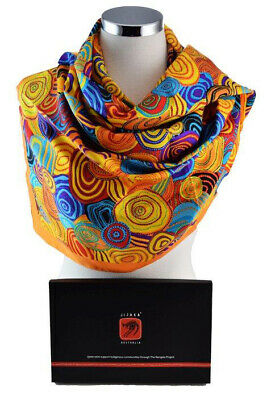 Jijaka Aboriginal Art Boxed Pure Silk Scarf (150c x 55cm) - Firestones