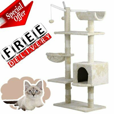 Cat Tree Kitten Activity Tower Furniture Condo Perches Scratching Posts Rope BR