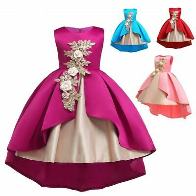 Princess kid baby wedding dresses party formal flower bridesmaid girl dress tutu