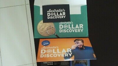 2019 $1 One Dollar Discovery Coin Orange Folder with 3 Coins 'A' 'U' 'S'