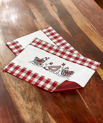 SET OF 2 Placemats Country Plaid Hens Chicken Kitchen Table ...
