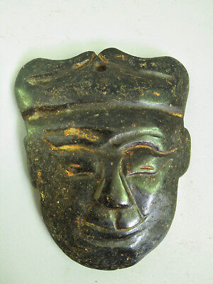 Hongshan culture Magnetic jade stone carved Person's face jade pendant F38