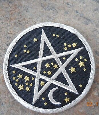 Starry Pentagram Fabric Clothing Patch Iron Crescent Moon Stars Pagan Astrology