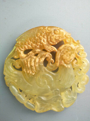 Exquisite Hand-carved old jade Phoenix and fish pendants D233