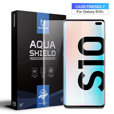2x Galaxy S10 5G S10 Plus Screen Protector, MaxShield Aqua Crystal for Samsung