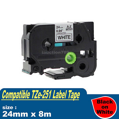 1x Laminated Label Tape For Brother TZe-251 TZ-251 P-Touch Black On White 24mm