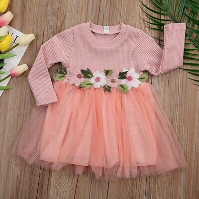 Baby Girls Clothes Dress Tutu Lace Long Sleeve Waist Embroidered Dress Dresses