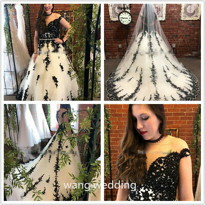 Gothic Black And White Lace Applique Wedding Dress Cathedral