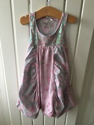 Little Girl's Clothes 3-4yrs - Pretty Pink/Grey Puff Ball Long Style Top By NE