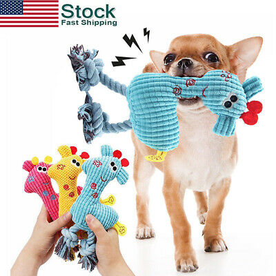 US Pet Dog Puppy Chicken Chew Toy Squeaker Squeaky Soft Plush Play Sound Toys