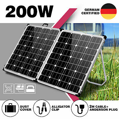 200W Folding Solar Panel Kit Camping Power 12V Mono Caravan Boat Charging USB
