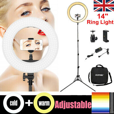 "14"" LED Ring Light 41W Dimmable Studio Tripod Lamp For Youtube Live Makeup Stand"