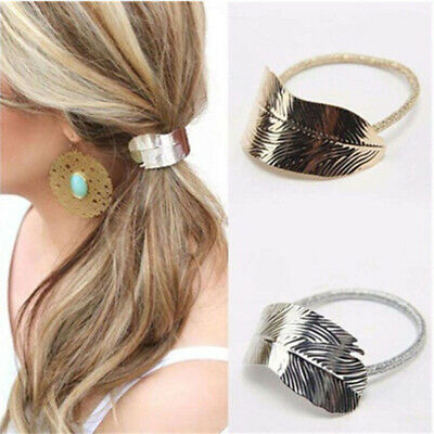 Leaf Ponytail Ring Holder Hair Clip Rope Tie Elastic Headband Hair Band B