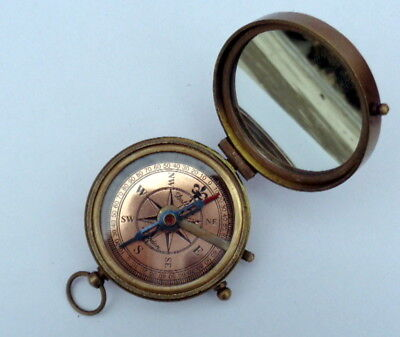 Nautical Brass Antique Mirror Compass Made For Royal Navy Compass Vintage
