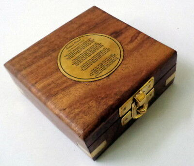 ntique Nautical Brass Magnetic Compass in Wooden Box Vintage Collectables Decor