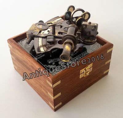 Nautical Marine Victorian Traveling Sextant German Maritime With Wooden Box Gift