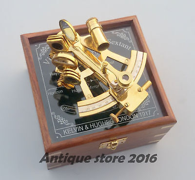 Nautical Golden Finish Sextant Navigational Instrument Maritime With Wooden Box