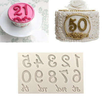 3D Number Figure Silicone Fondant Cake Biscuit Mold Decor Kitchen Tools B