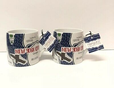 2x New York City NYC Mugs Coffee Tea Cup XL Size Souvenir By Mapquest Collection