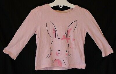 Baby Girls Primark Pink Beautiful Cute Bunny Long Sleeve Top Age 9-12 Months