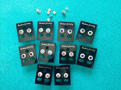 UKJOBLOT-10 pairs of colour/crystal diamante ROSETTE STUDS.Silver plated.UK made