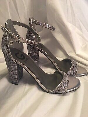 63b717a6743 G by Guess Shantel3 Silver High Heels Ankle Strap Shoes Women s 7 sequence