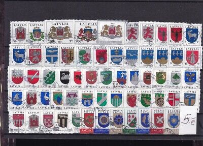 Latvia  1993-2015  Used  56 stamps.Definitives  Coat of Arms.See scan.