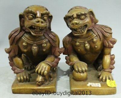 7 Chinese Fengshui Pure Bronzr Animal Beast Fu Foo Dog Lion Monster Pair Statue