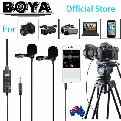 """6M BOYA BY-M1DM Dual-Head Lavalier Clip Microphone With 1/8 """"Stereo Connector GS"""