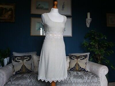ORIGINAL VINTAGE 60S 70s LADIES CREAM LINEN CROCHET DRESS UK 10 LESHGOLD LONDON
