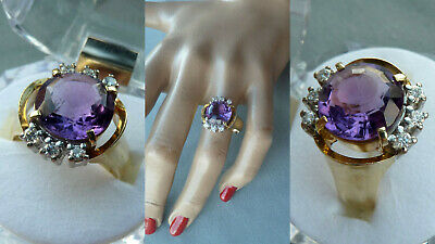 FUPR Vintage Damen Ring Amethyst 585er Gold 6 x Brillant Schmuck jewellery