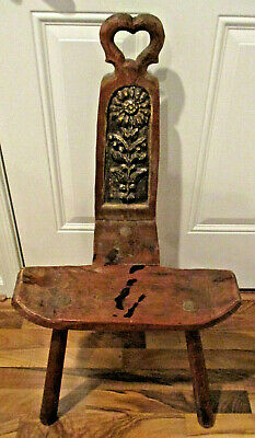 Antique Wooden Birthing Chair with Hand Carved Flower on Back Rest - 8437