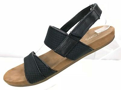 240fe926570 Toms Tierra Black Sling Back Leather Sandals Strap Open Toe Flats Women s  Sz 10