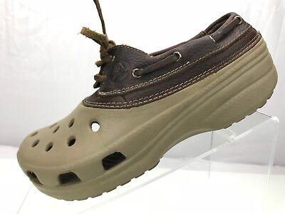 38f8a9e00d0e3f Crocs Islander - Lace Up Sport Boat Shoes Loafers Brown Leather Womens 6  Mens 4