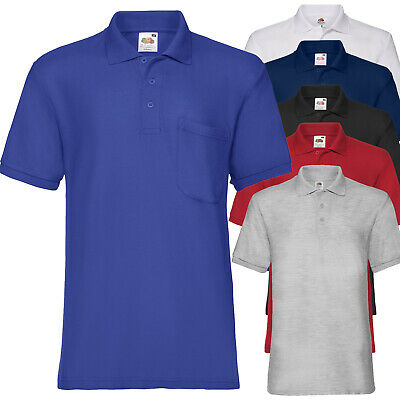 Polo da Lavoro Uomo T-Shirt Con Taschino Misto Cotone FRUIT OF THE LOOM 65/35
