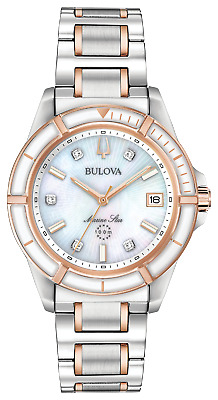 Bulova Marine Star 98P187 34mm Two-Tone MOP Diamond Dial Quartz Women's Watch