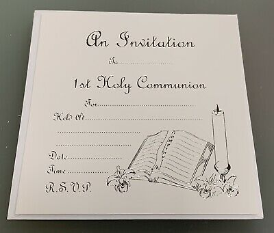 1st Holy Communion Invitation Cards And Envelopes Pack Of 10