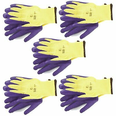 """5pk 8"""" Builders Protective Gardening Latex Rubber Coated Work Gloves Purple"""