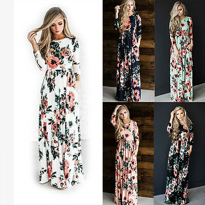 buy online 64927 7edbd DAMEN BOHO MAXIKLEID Langarm Blumen Casual Party Kleider Abendkleid  Cocktail Hot