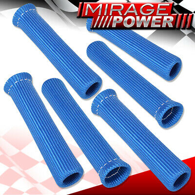 For Benz 6 Piece Slip On Spark Plug Wire Heat Sleeve Insulation Wrap Unit Blue