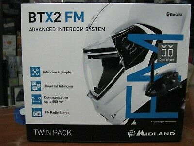 Coppia Interfoni Midland Btx2 Fm Bluetooth Casco Caschi Scooter Moto