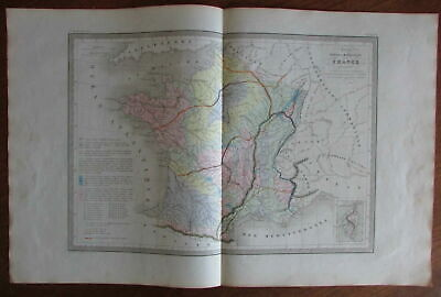 Geology minerals of France Corsica c.1860 engraved map w/ hand color