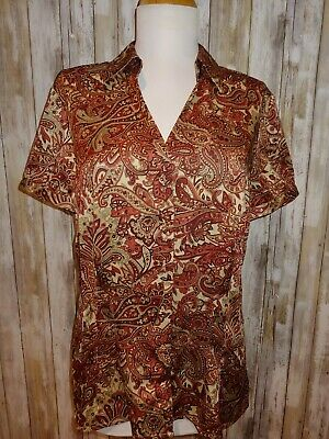 3510454cbc0eb7 Ann Taylor Loft New Nwt 10 M Silky Paisley Short Sleeve Shirt Top Blouse