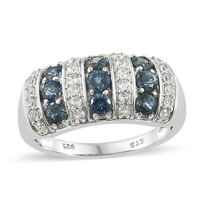 aa0209b0c4fa 925 Sterling Silver Platinum Plated Round Sapphire