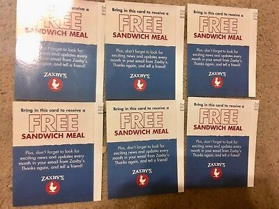6 Zaxby's Sandwich Club Combo Meal Gift Card Certificates Vouchers No Expiration