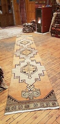 Beautiful 1930-1939's Antique Wool Pile Muted Natural Dye Oushak Runner Rug