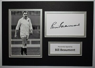 Bill Beaumont Signed Autograph A4 photo Display England Rugby Union AFTAL COA